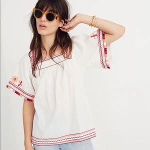 Madewell Sandblossom Embroidered Top, XL